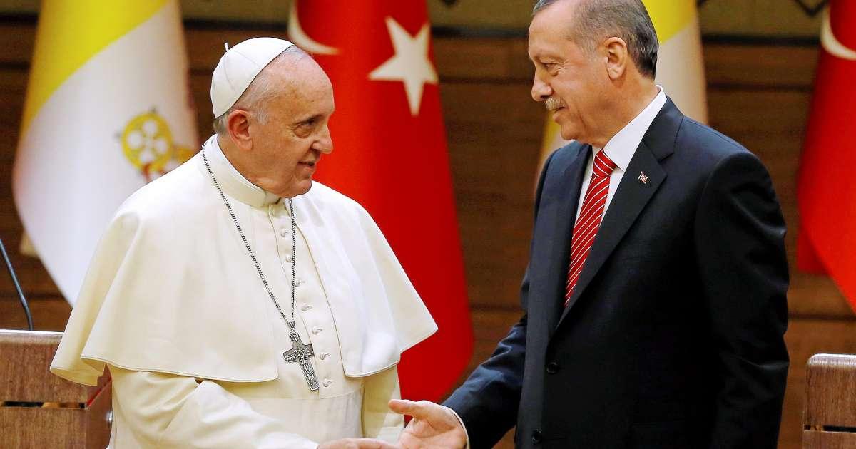 Президент Турции с Папой Римским / kristeligt-dagblad.dk