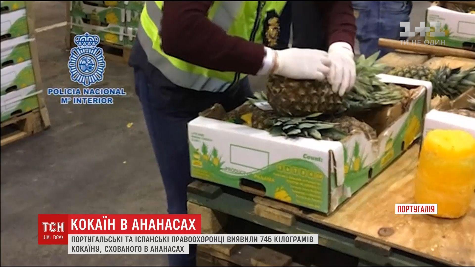 Испанские и португальские правоохранители обнаружили 745 кг кокаина в ананасах / кадр из видео ТСН