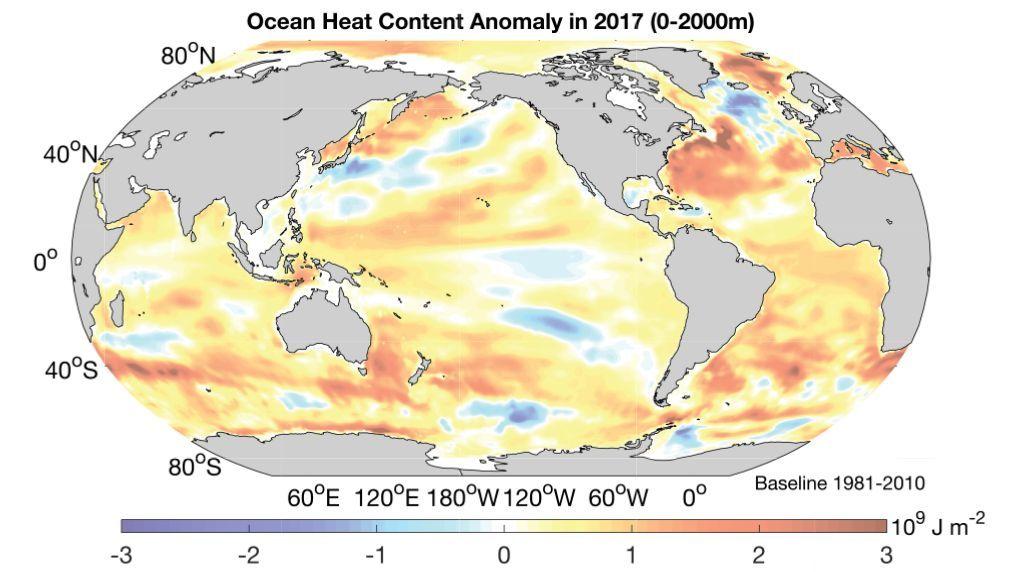 Карта середньорічної температури верхнього шару світового океану в 2017 році відносно середнього рівня 1981-2010 років / фото Advances in Atmospheric Sciences