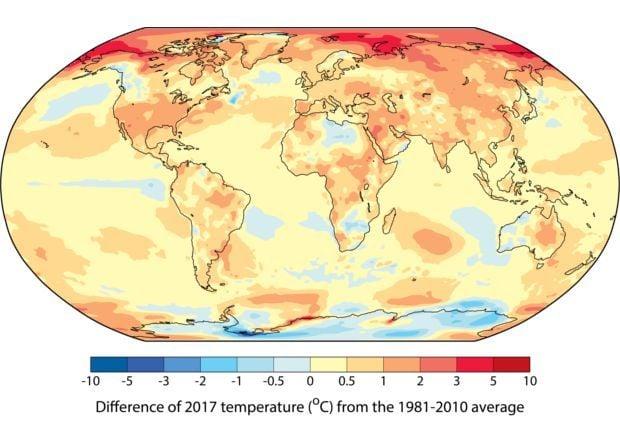 Карта отклонения среднегодовой температуры в 2017 году от уровня 1981–2010 годов / фото WMO