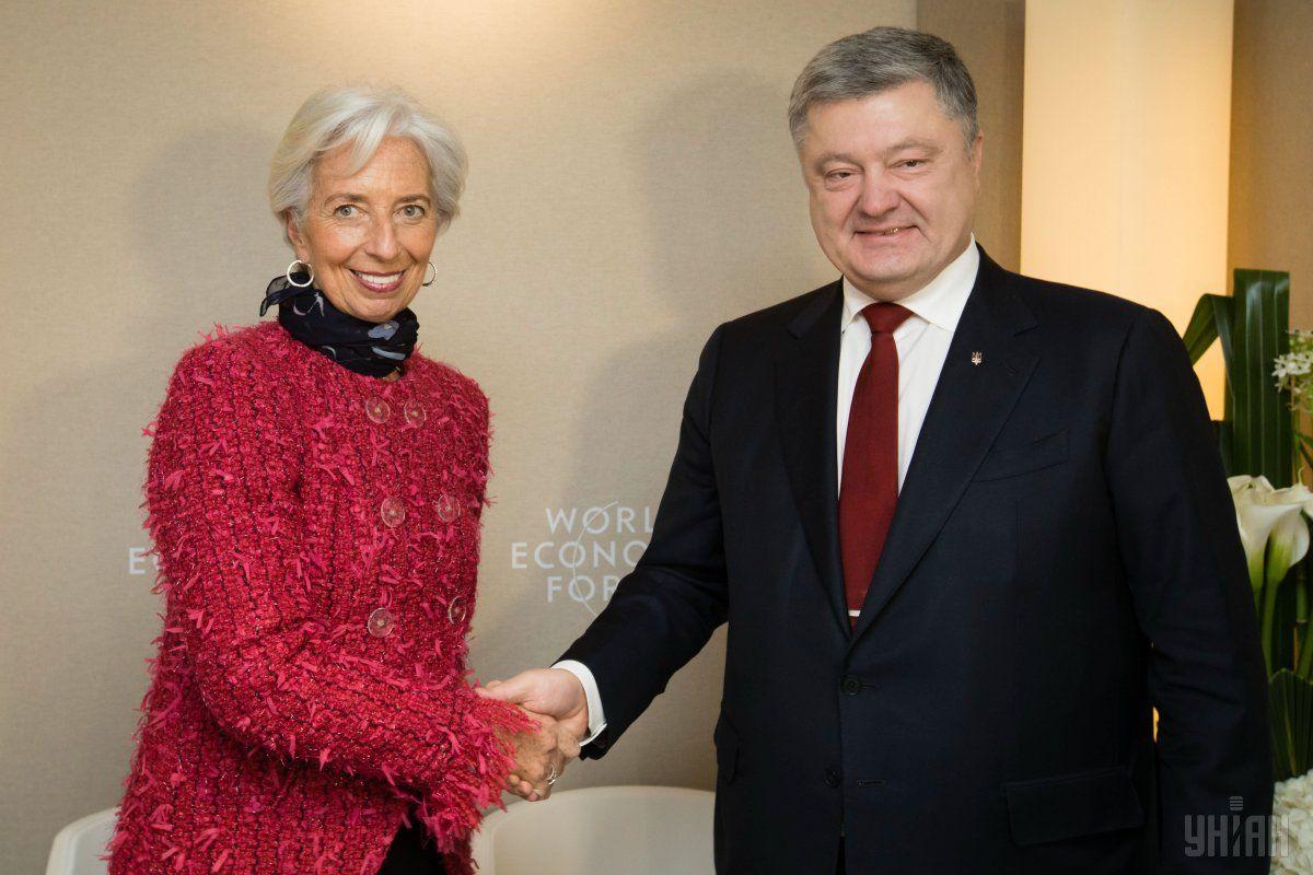Кристин Лагард и Петр Порошенко / фото УНИАН