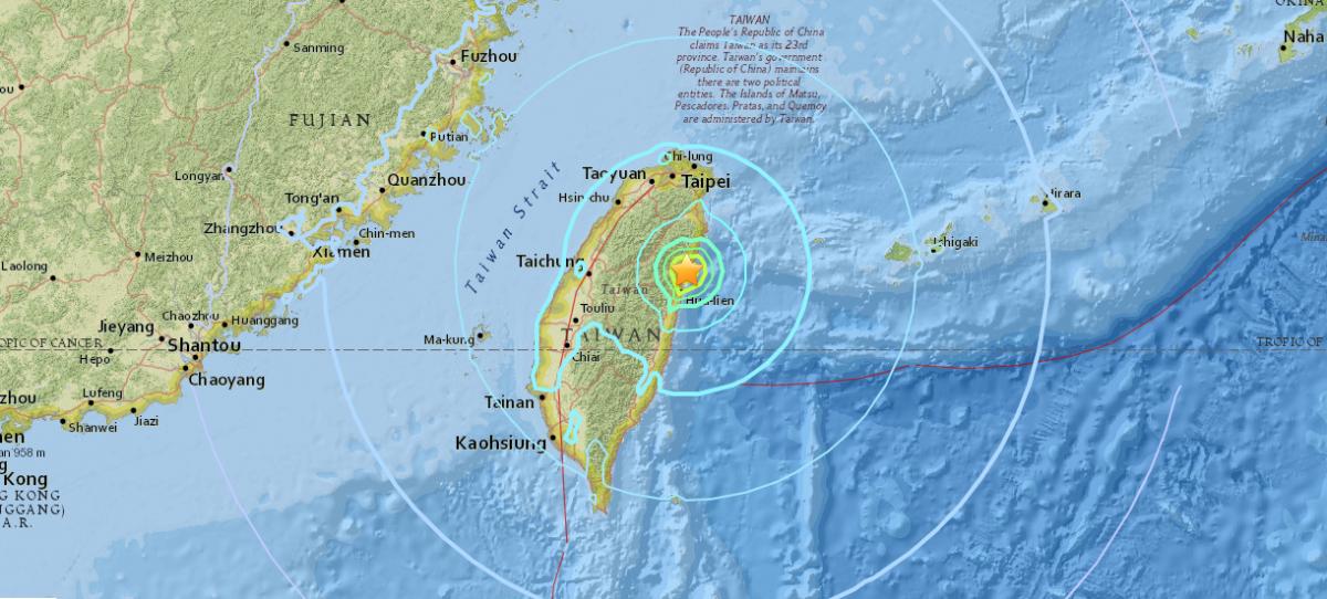 З-за удару стихії на Тайвані обрушилися п'ять будівель / фото earthquake.usgs.gov