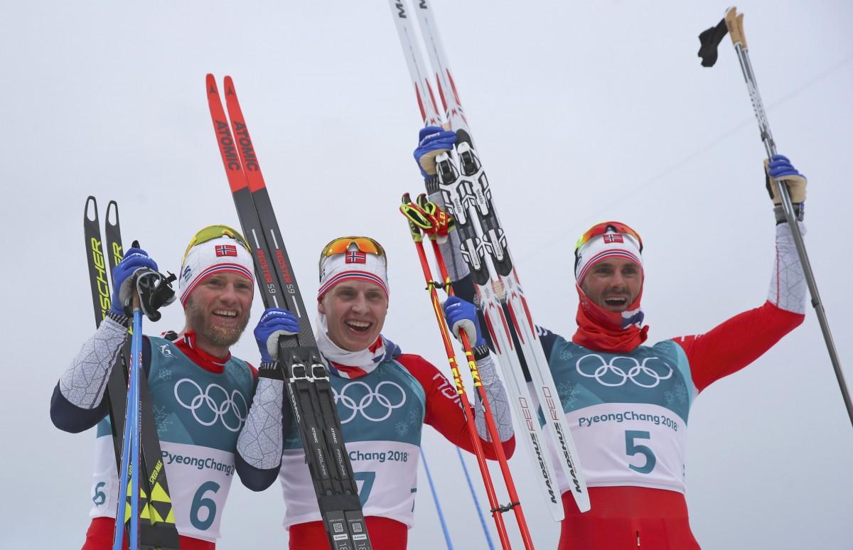 Норвежці - призери скиатлона на Олімпійських іграх / REUTERS