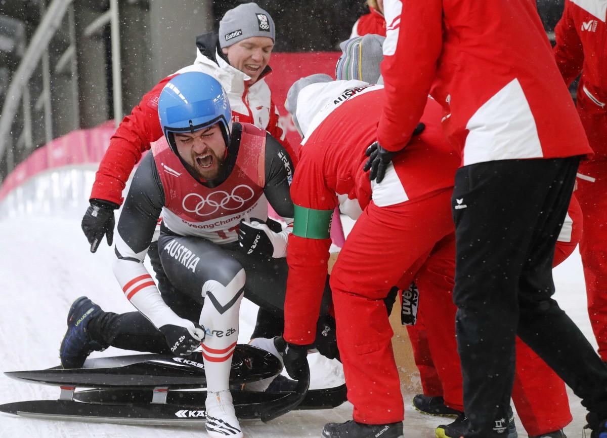 Давид Глайршер - чемпион Олимпийских игр-2018 в санном спорте / REUTERS