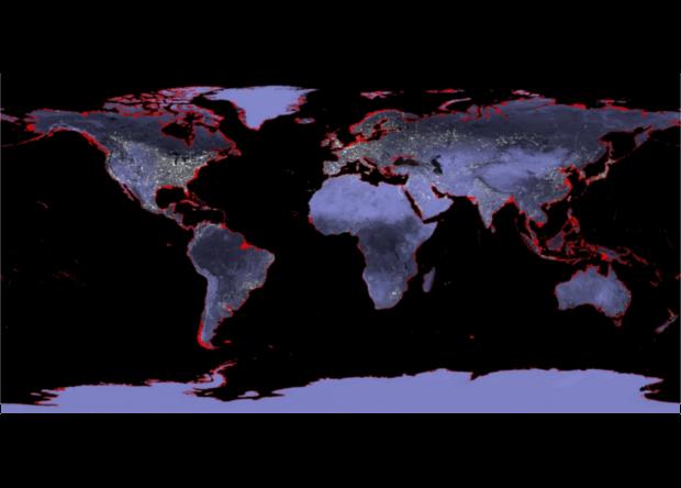 Карта областей на Землі з максимальним ризиком бути затопленими через піднімається рівня світового океану. Червоним позначені області, які підуть під воду, якщо морі підніметься на шість метрів / фото NASA