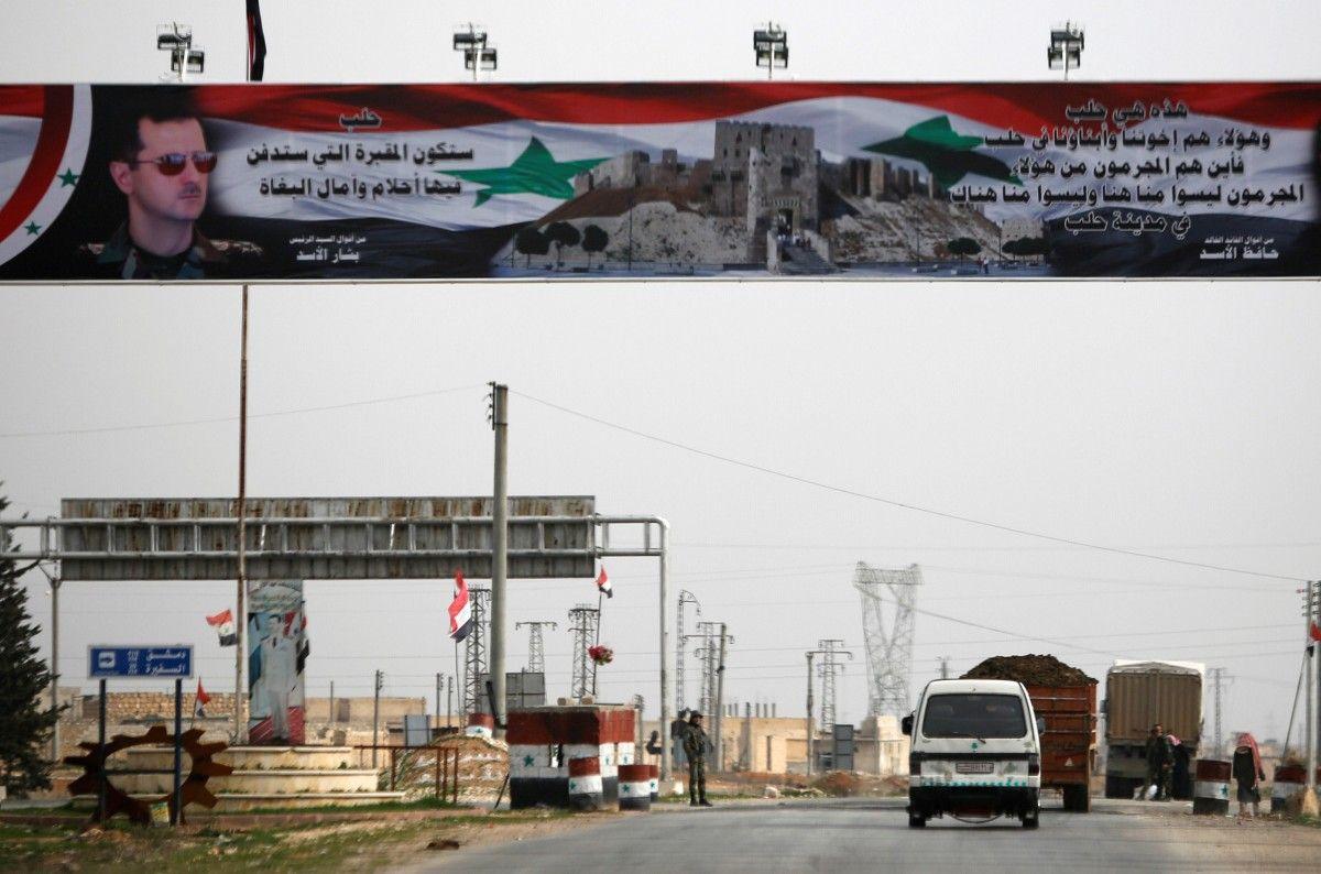 Агитплакат на подконтрольной Башару Асаду территории, иллюстрация / REUTERS