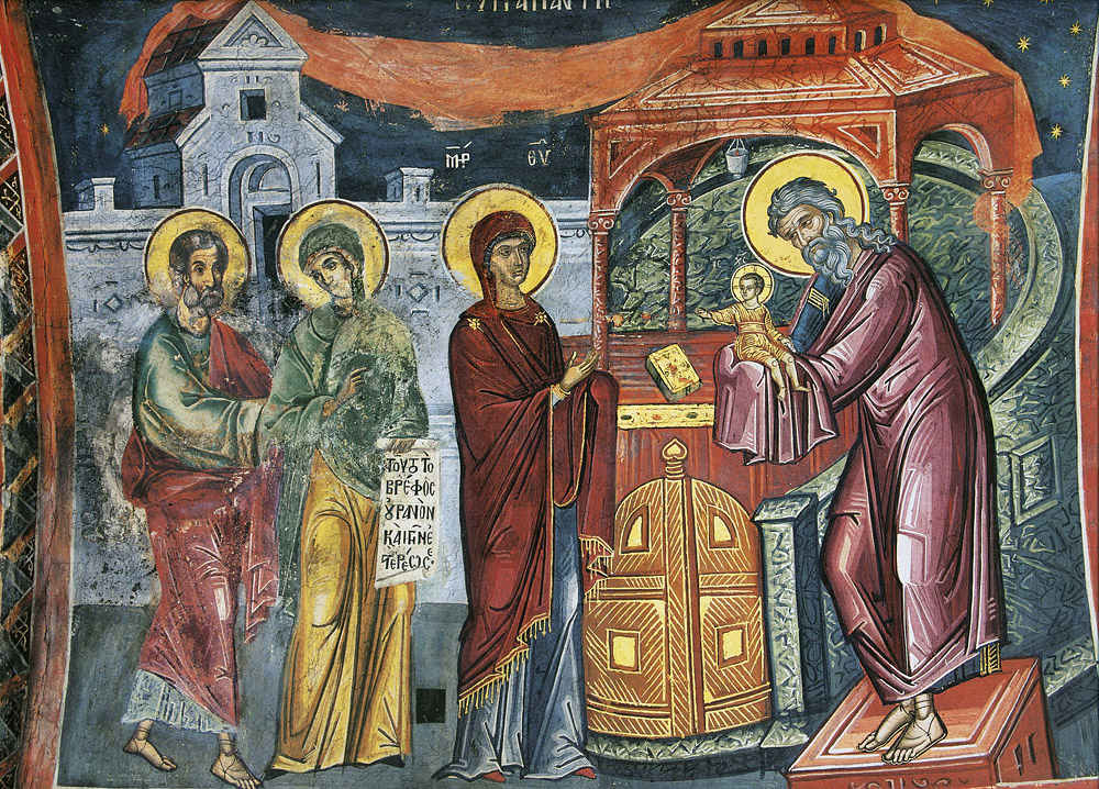 В Україні завтра відзначають Стрітення / Фото: Стрітення Господнє. Фреска монастиря Діонісіат, Афон