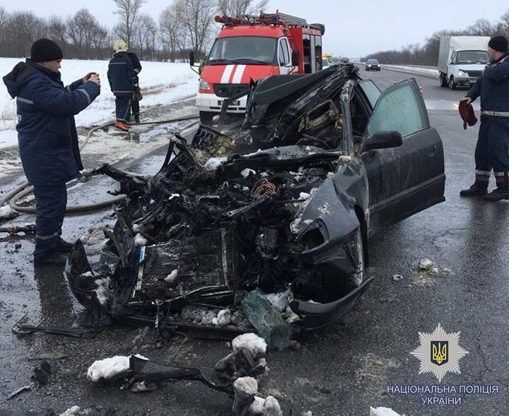 Погибли водитель и три пассажира иномарки / Фото facebook.com/police.kharkov