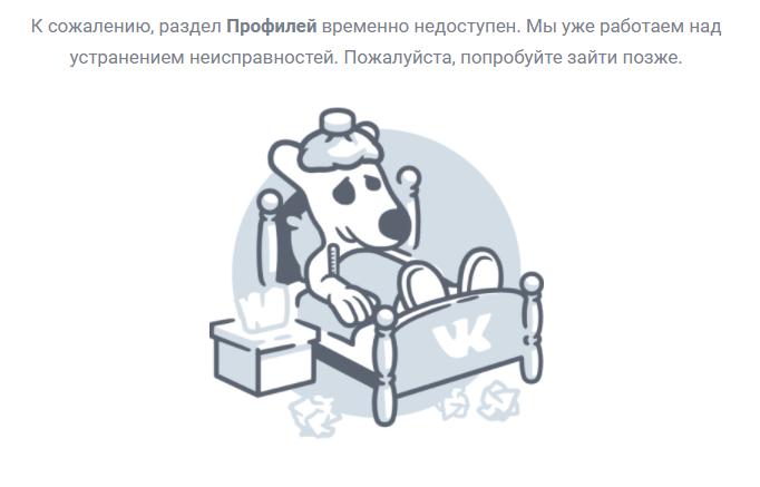 """В работе """"Вконтакте"""" произошел сбой / скриншот"""