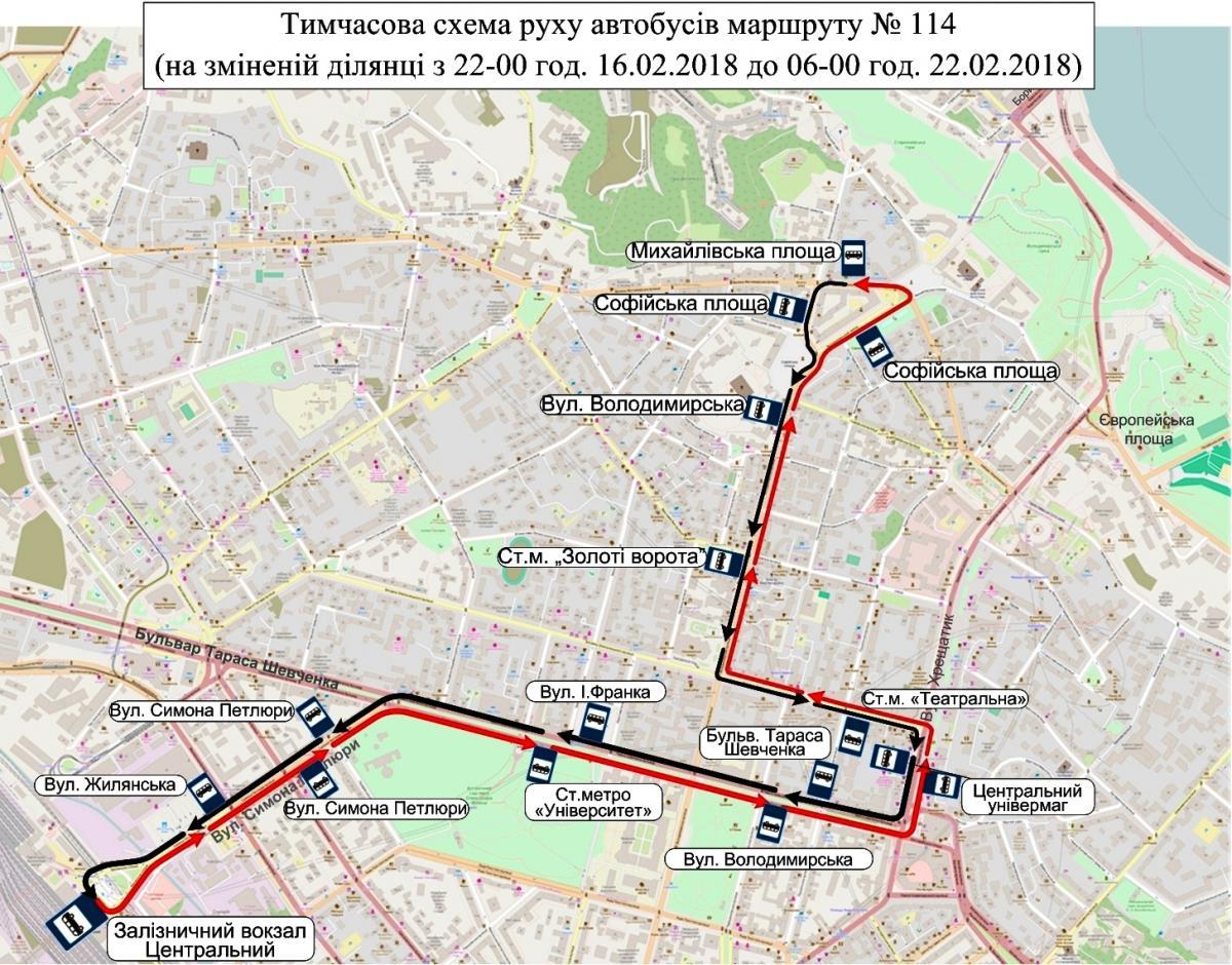 Схема руху автобусу №114 / фото kpt.kiev.ua