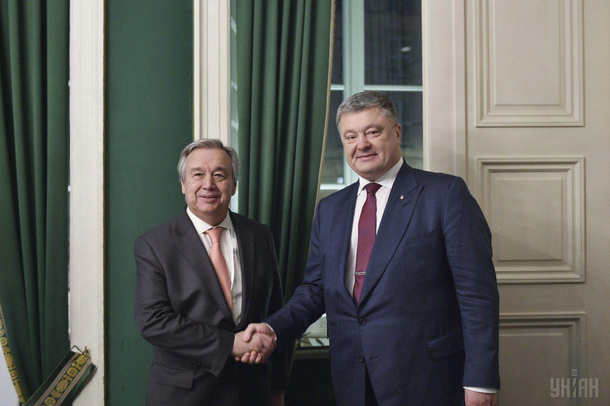 Президент Украины Петр Порошенко и Генеральный секретарь ООН Антониу Гутерреш во время встречи в Мюнхене / фото УНИАН