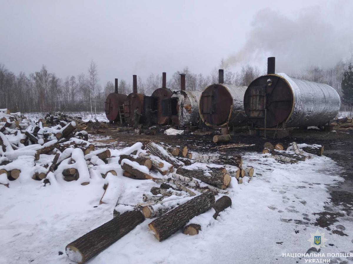 Под Житомиром прекратили нелегальное производство древесного угля, что загрязняло окружающую среду / фото Нацполіції Житомирщины
