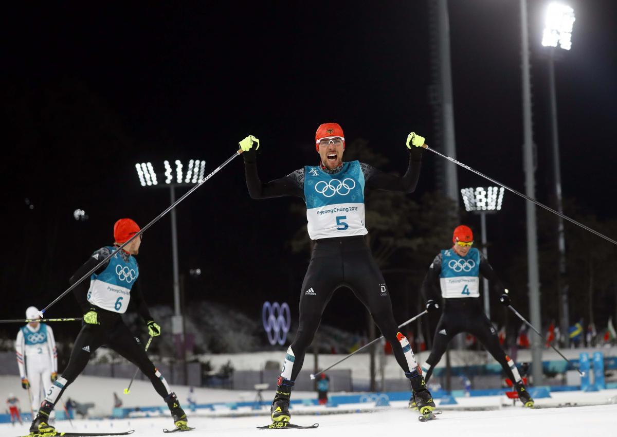 Немцы заняли все три призовых места в лыжном двоеборье / Reuters