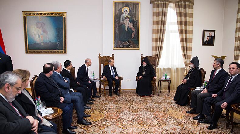 Католікос всіх вірмен Гарегін II прийняв Президента Лівану Мішеля Ауна / panorama.am