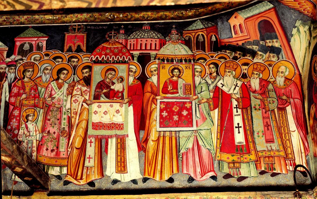 Фото: Торжество Православ'я. Фреска монастиря Григориат на Святій Горі Афон / athos-ukraine.com