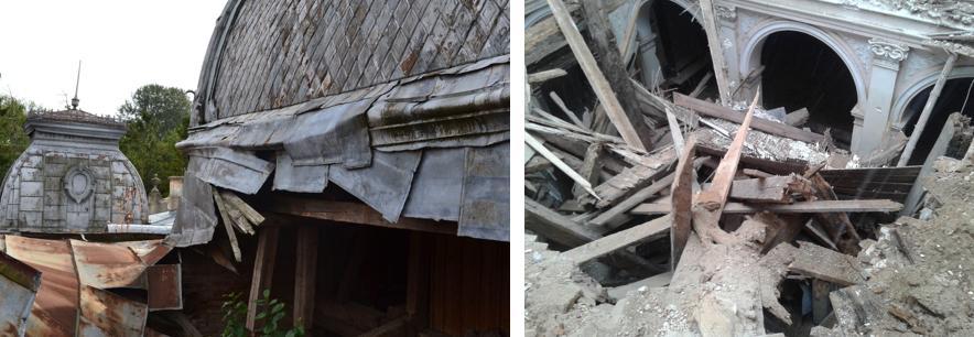4. Через брак коштів та безгосподарність, ремонтні роботи тривалий час не здійснювалися, як наслідок прогнилі балки впали і обвалили підлогу другого поверху, купол завис у повітрі і теж ледь не обвалився