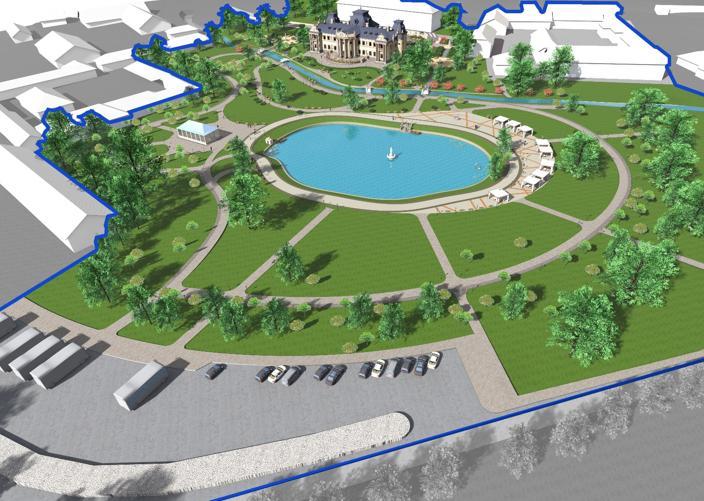 Посеред парку заплановано облаштувати став із фонтаном