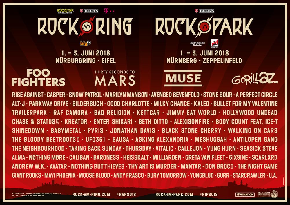 Лайн Rock am Ring та Rock im Park 2018 / Скріншот афіши