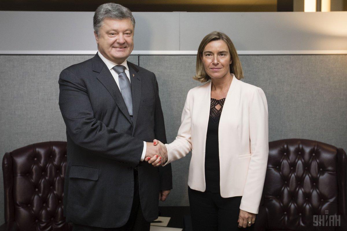 Петр Порошенко сегодня встретился с Федерікою Могеріні / фото УНИАН