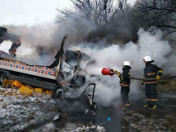 В результаті ДТП виникла пожежа / фото ДСНС у Дніпропетровській області