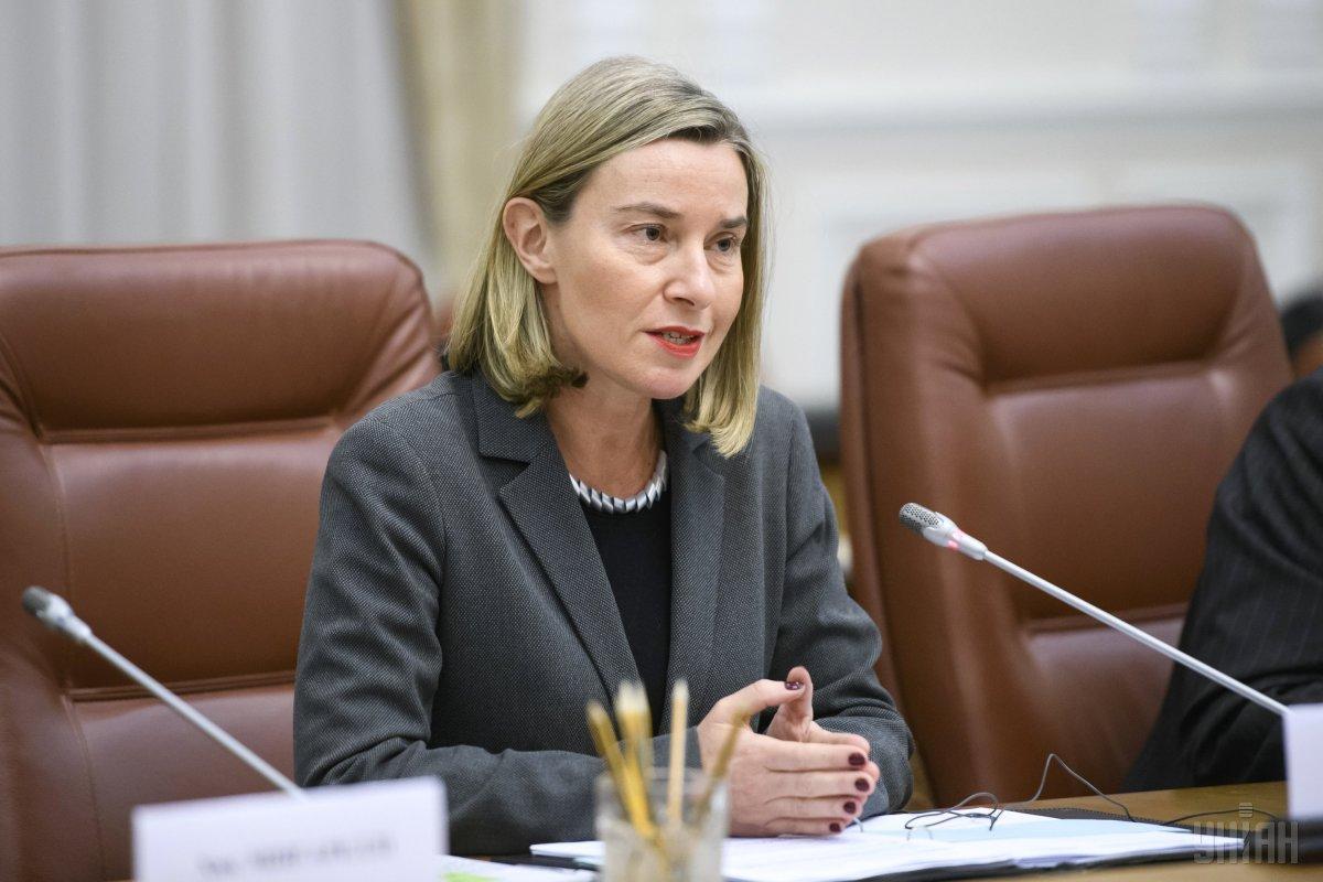Могерини заявляє, що ЄС готовий робити більше в напрямку відновлення Донбасу / фото Мусієнко Владислав / POOL