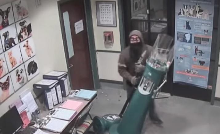 Вор разбил автомат и растерял все жвачки / Скриншот видео ТСН