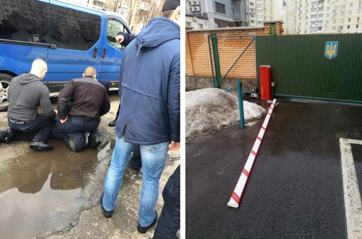 Водитель попытался скрыться, но через несколько минут машину задержали рядом с управлением полиции / Фото Нацполіція via Telegram