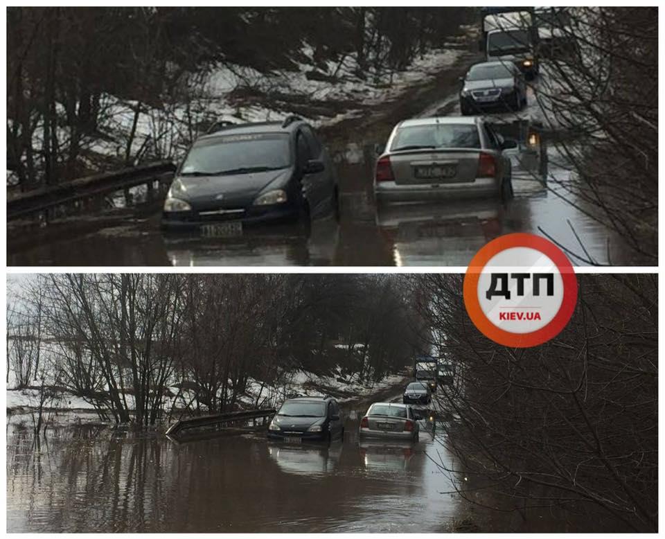 Из-за оттепели украинские дороги превратились в реки / фото dtp.kiev.ua