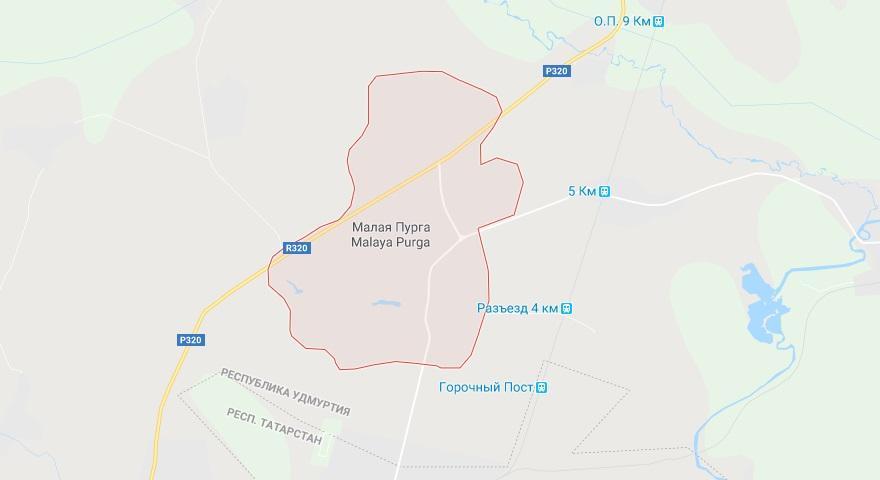 Трагический инцидент произошел в Малой Пурге / Скриншот Google Maps