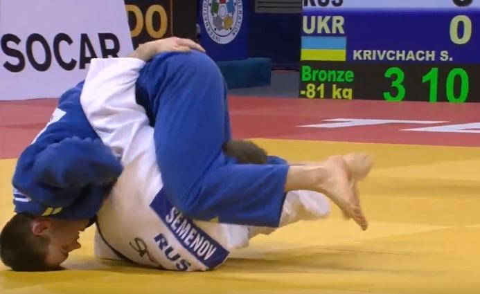В поединке за бронзу украинец Сергей Крівчач одолел россиянина Станислава Семенова / ukrainejudo.com