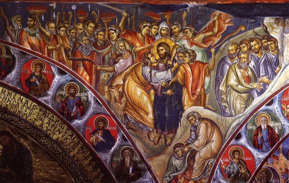 Фото: Фрески монастыря Ватопед, Афон, изображающие события Страстной седмицы