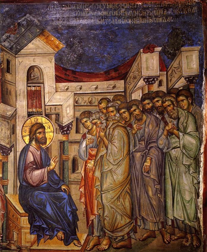 Фрески монастыря Ватопед, Афон, изображающие события Страстной седмицы