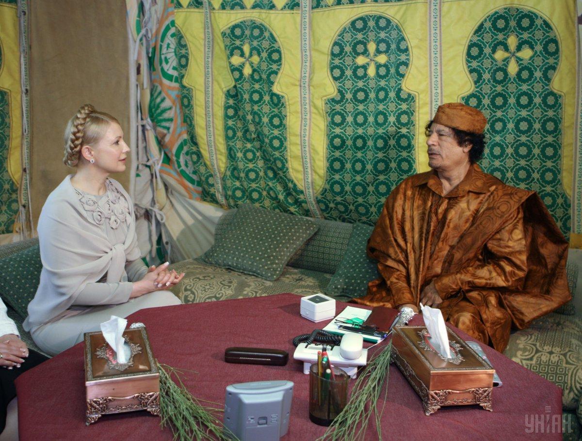 Юлия Тимошенко и Муаммар Каддафи в Ливии в 2009 году / Фото УНИАН