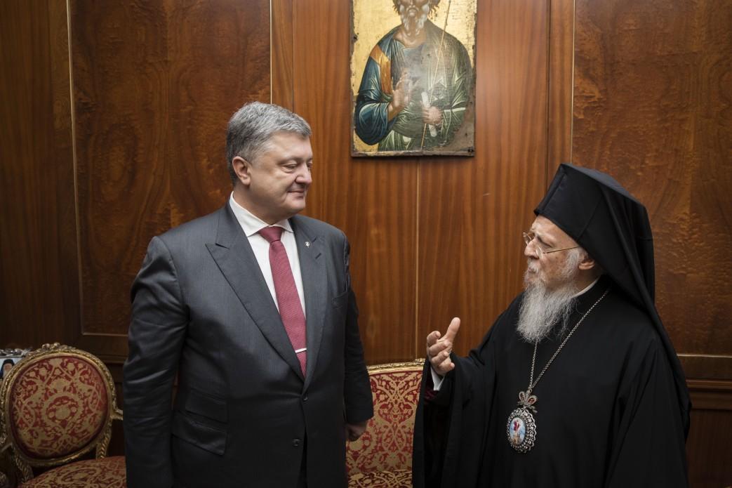 Порошенко обсудил соВселенским Патриархом создание единой поместной церкви вУкраинском государстве