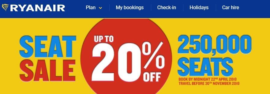 Скидки от Ryanair / Скриншот