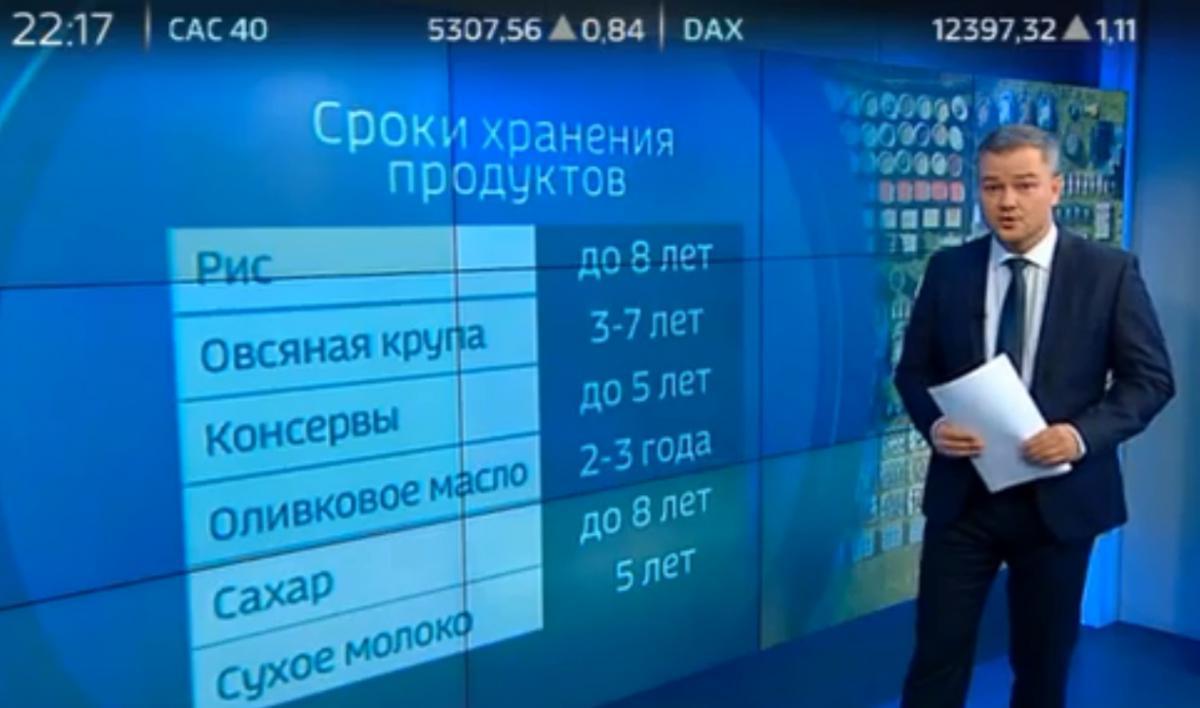 Россиянам объяснили, какие продукты следует запасать в бункере на случай войны / Скриншот, Вести.Ru