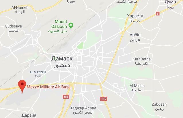 Авиабаза Меззех (1 ВПП, 12 вертолетных площадок, 22 ангара; вертолеты SA-324) \ Stratfor