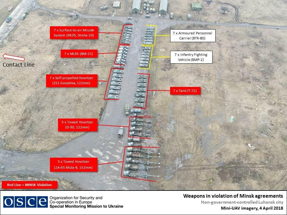 Техника террористов на окраине Луганска / фото twitter.com/OSCE_SMM
