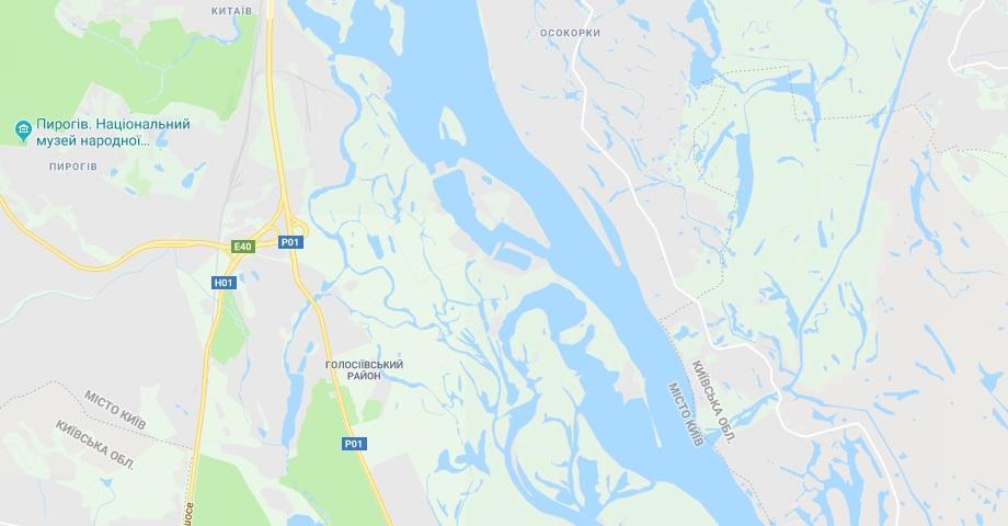 Водолазы обследуют Днепр возле острова Жукова и острова Казачий / Скриншот Google Maps