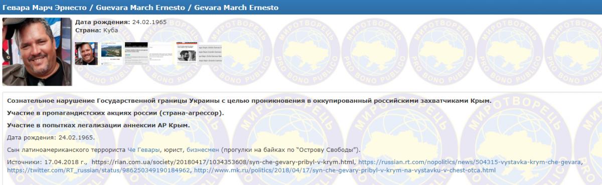 Эрнесто Гевара прибыл в Крым во вторник / фото myrotvorets.center/criminal/gevara-march-ernesto/