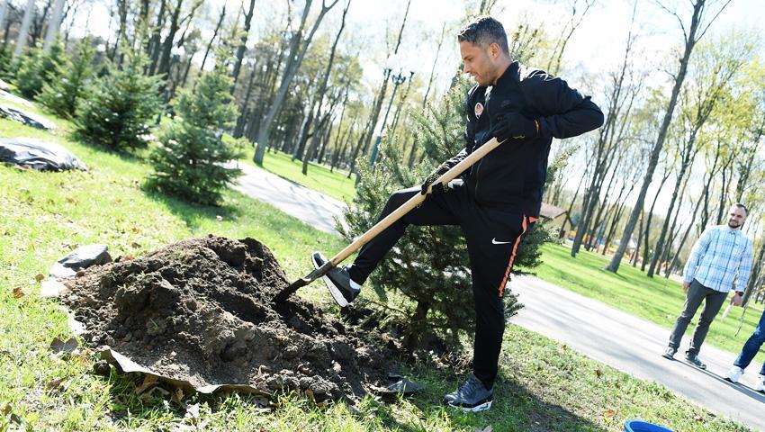 Марлос посадил дерево в парке в Харькове / shakhtar.com
