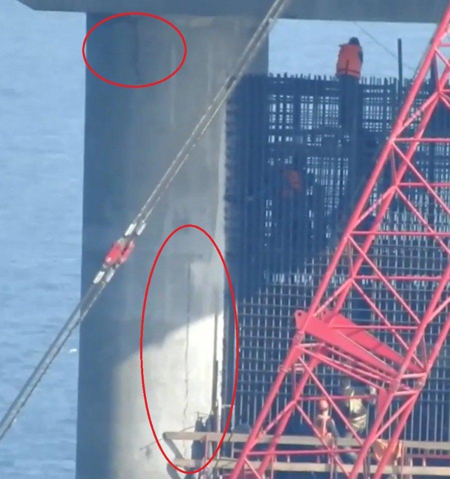 Треснула опора Крымского моста: опубликованы фото (1)