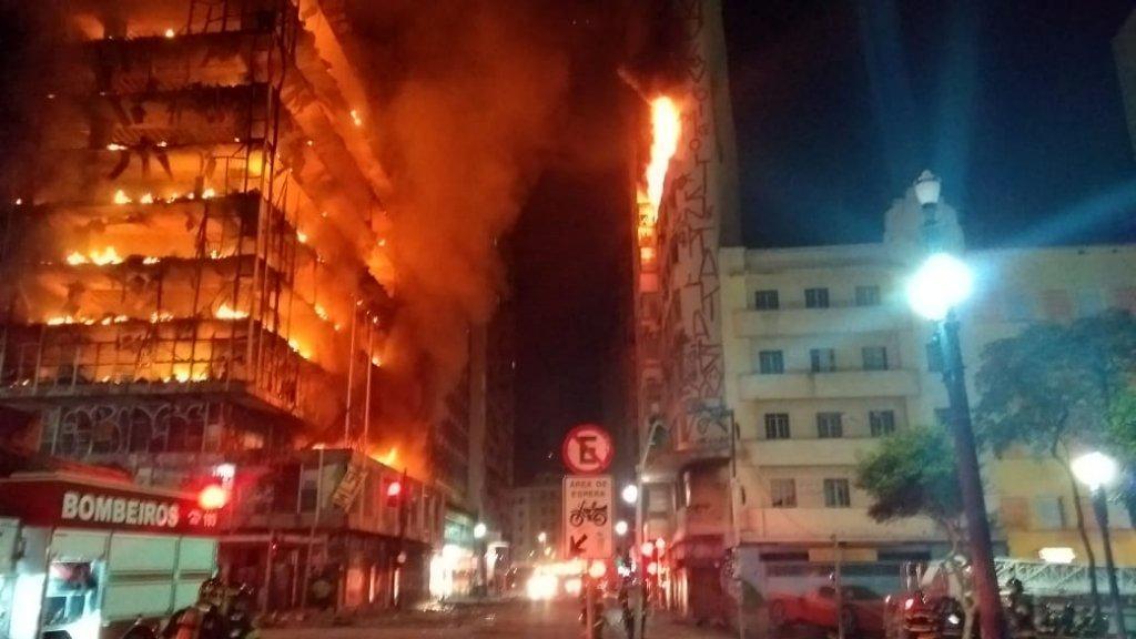 huge fire engulfs sao paulo building media world news