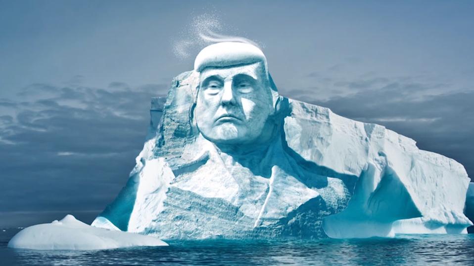 Група екологів планує вирізьбити в айсбергу голову Трампа, щоб довести зміни клімату / фото projecttrumpmore.com