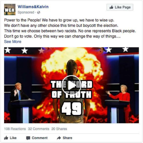 Один из проплаченных постов, что призывает темнокожих бойкотировать выборы / фото democrats-intelligence.house.gov