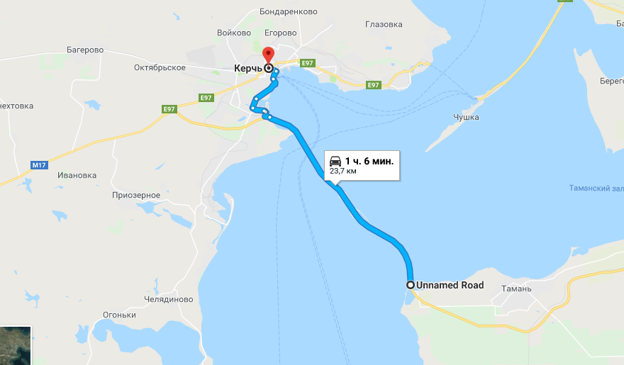 """Сервис подписывает Крымский мост как """"безымянную дорогу"""" / скриншот"""