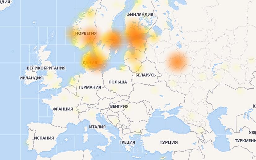 Карта сбоев Facebook / скриншот