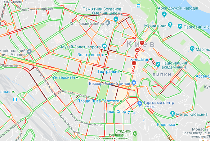 Центр Киева парализовали пробки / скриншот