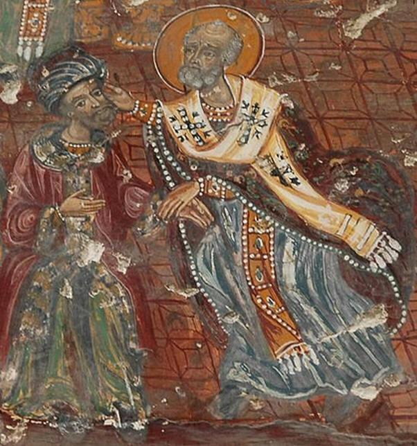 Свт. Микола заушаєАрія. Фреска монастиря Панагія Сумела