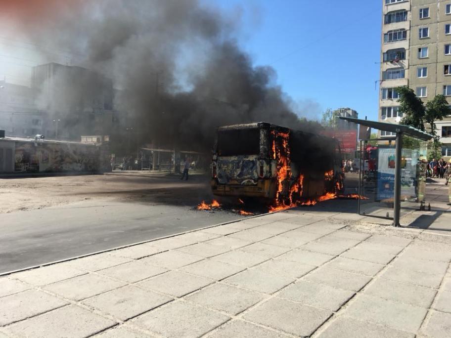 В Львове загорелась маршрутка / фото facebook.com/igor.zinkevych